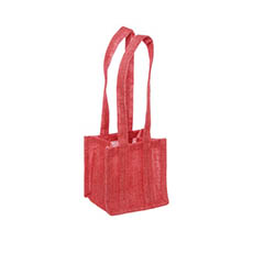 Jute Posy Gift Bags - Natural Jute Posy Bag Plastic Liner Red 13.5x13.5x13.5cmH