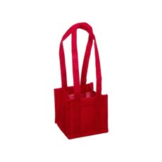 Jute Posy Gift Bags - Jute Posy Bag With Plastic Liner Red (13.5x13.5x12.5cmH)
