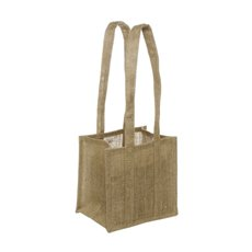 Jute Posy Gift Bags - Natural Jute Posy Bag With Plastic Liner (19x19x15cmH)