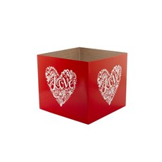Posie Flower Box Mini Pattern - Posy Box White Heart Red on Red (13x12cmH)