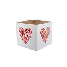 Posie Flower Box Mini Pattern - Posy Box Red Heart Red on White (13x12cmH)