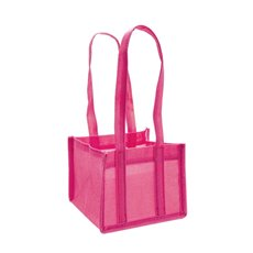 Jute Posy Gift Bags - Poly Flax Posy Bag Plastic Liner Pink (15x15x14cmH)