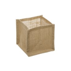 Flower Pot Cover - Natural Jute Pot Cover With Plastic Liner(12x12x12cmH)