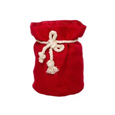 Flower Pot Cover - Hessian Sack Small Red (17cmDx24cmH)