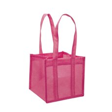 Jute Posy Gift Bags - Poly Flax Posy Bag Plastic Liner Pink (18x18x17cmH)