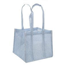 Jute Posy Gift Bags - Poly Flax Posy Bag Plastic Liner Blue (23x23x20mH)