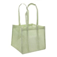 Jute Posy Gift Bags - Poly Flax Posy Bag Plastic Liner Green (23x23x20mH)