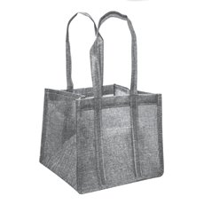 Jute Posy Gift Bags - Poly Flax Posy Bag Plastic Liner Grey (23x23x20mH)