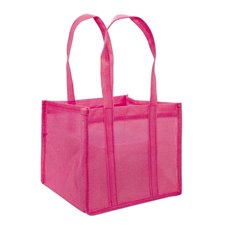 Jute Posy Gift Bags - Poly Flax Posy Bag Plastic Liner Pink (23x23x20mH)