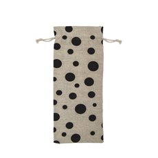 Wine Gift Bags - Wine Pouch Fabric Large Dot Black (13x31cmH) Pack 10