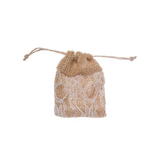 Hessian Drawstring Pouch Lace 10Pk Small(8x10cmH) Natural