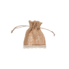Jute Pouches - Hessian Pouch Crochet Trim Small Natural (8x10cmH) Pack 10
