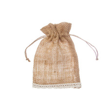 Jute & Linen Favour Bags - Hessian Pouch Crochet Trim Medium Natural (12x17cmH) Pack 10