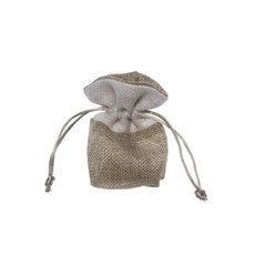 Jute & Linen Favour Bags - Jute Pouch with White Trim Small Natural (8x8cmH) Pack 10