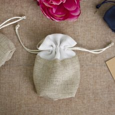 Jute & Linen Favour Bags - Jute Pouch with White Trim Medium Natural (11x15cmH) Pack 10