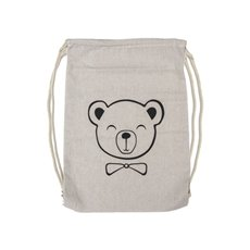 Reusable Shopping Bags - Teddy Bear Drawstring Bag Calico (33.5x46cmH)