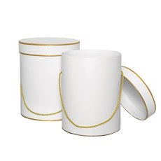 Hat Box Round Set of 2 White with Gold Trim (23Dx28cmH)