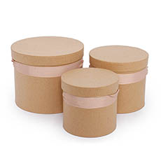 Gift Boxes Sets & Hat Boxes - Flower Hat Box Ribbon Round Set 3 Brown Kraft (18.5cmx15cmH)