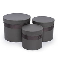 Gift Boxes Sets & Hat Boxes - Flower Hat Box Ribbon Round Set 3 Charcoal (18.5cmx15cmH)