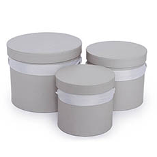 Gift Boxes Sets & Hat Boxes - Flower Hat Box Ribbon Round Set 3 Light Grey (18.5cmx15cmH)