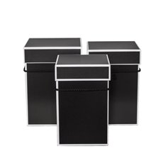 Gift Boxes Sets & Hat Boxes - Hat Box Square Deluxe Set 3 Black with White Trim (18x25cmH)