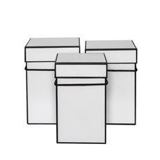 Gift Boxes Sets & Hat Boxes - Gift Flower Box Deluxe Square Silhouette White (18x25cmH) S3
