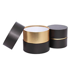 Gift Boxes Sets & Hat Boxes - Luxe Hat Gift Box Black with Gold Insert Set 2 (18.5Dx15cmH)