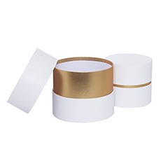 Gift Boxes Sets & Hat Boxes - Luxe Hat Gift Box White with Gold Insert Set 2 (18.5Dx15cmH)