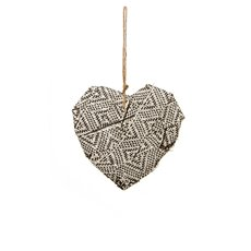 Aztec Fabric Heart Hanging (18cmH) Black  White