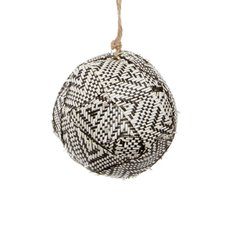 Aztec Fabric Ball Hanging (18cmD) Black White