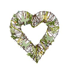 Rattan Heart Wreath Natural Green (35cmD)