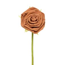 Fabric Rose Jute Stem Orange(11cm x 28cmH)