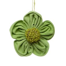 Fabric Daisy Jute Flower Head Hanging Lime (14cmD)