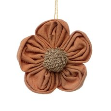 Fabric Daisy Jute Flower Head Hanging Orange (14cmD)