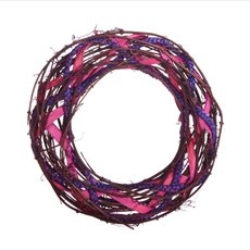 Natural Woven Wreath Large Pink (36cmD)