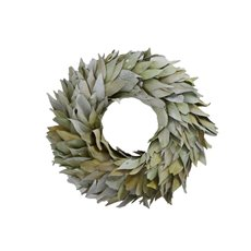 Natural Leaf Wreath Sage (38cmDx8.5cmH)