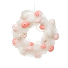 Feather Wreath with eggs Light Pink & White (30cmD)