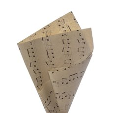 Coloured Kraft Paper - Brown Kraft Paper 50gsm Music Notes Black (50x70cm) Pack 100