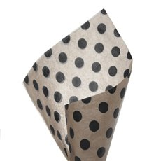 17gsm Natural Tissue Paper Bold Dots 100Pack Black (50x70cm)