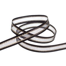 Ribbon Sheer Satin Gold Thread Black (10mmx20m)