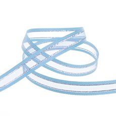 Organza Ribbons - Ribbon Sheer Satin Silver Thread Baby Blue (10mmx20m)