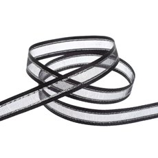 Organza Ribbons - Ribbon Sheer Satin Silver Thread Black (10mmx20m)