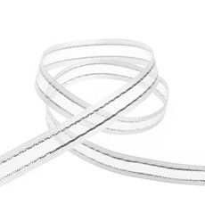 Ribbon Sheer Satin Silver Thread White (10mmx20m)