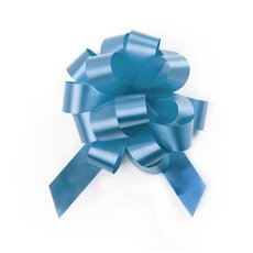 Pull Bows - Ribbon Pull Bow Pom Pom Baby Blue (18mmx8.75cmD) Pack 5
