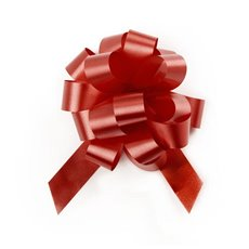 Pull Bows - Ribbon Pull Bow Pom Pom Burgundy (18mmx8.75cmD) Pack 5