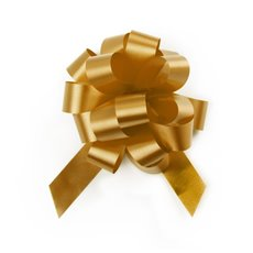 Pull Bows - Ribbon Pull Bow Pom Pom Gold (18mmx8.75cmD) Pack 5