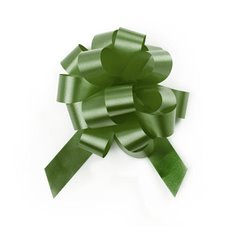 Pull Bows - Ribbon Pull Bow Pom Pom Moss (18mmx8.75cmD) Pack 5