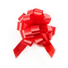 Ribbon Pull Bow Pom Pom Red 5PK (18mmx8.75cmD)