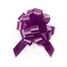 Pull Bows - Ribbon Pull Bow Pom Pom Violet (18mmx8.75cmD) Pack 5