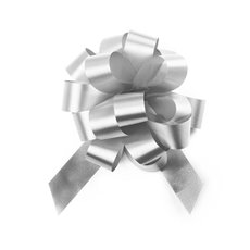 Ribbon Pull Bow Pom Pom White 5PK (18mmx8.75cmD)